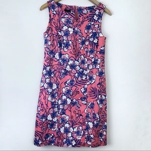 Talbots Pink Floral Shift Dress Size 4 Petite